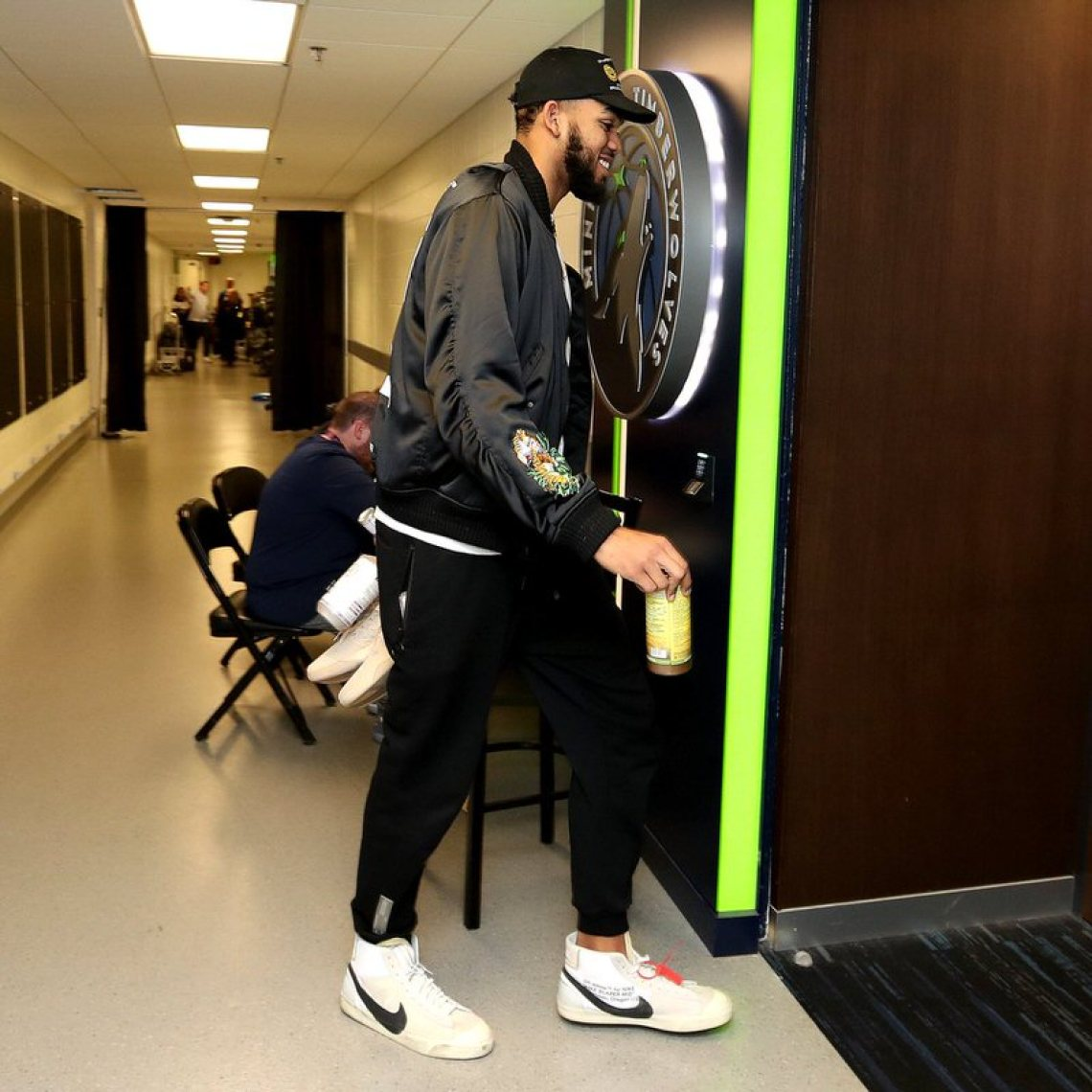 Karl Anthony Towns in the Off White x Nike Blazer Mid