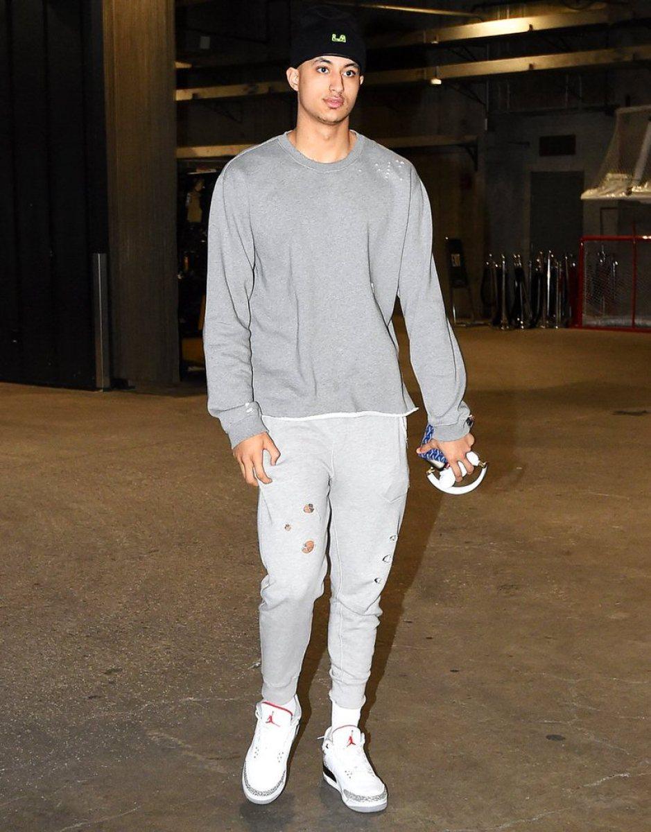 "Kyle Kuzma in the Air Jordan 3 Retro 'White Cement"""