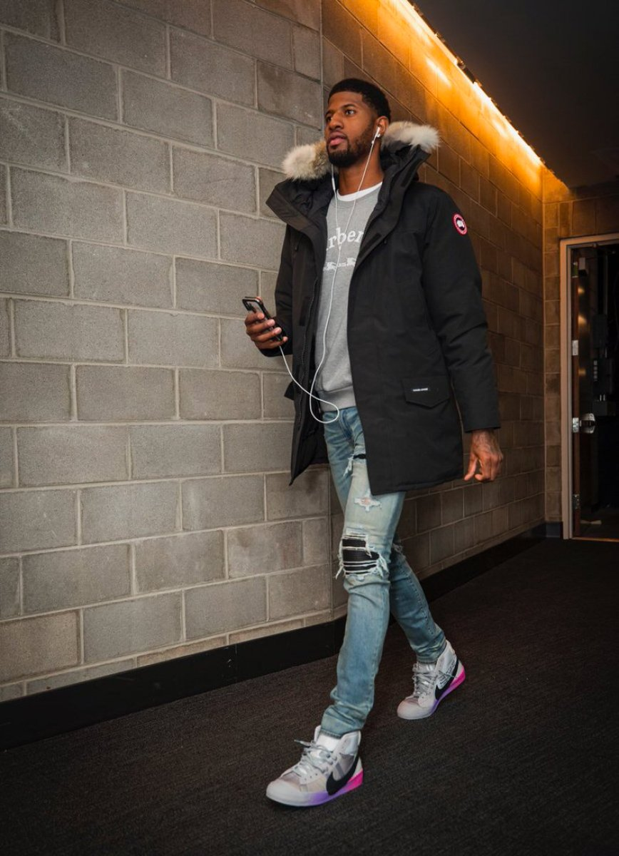 "Paul George in the Off White x Nike Blazer Mid ""Serena Williams"""
