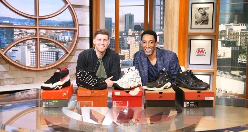 aff8c12de0a5bb Scottie Pippen Signs Five Nike Signature Shoes For ESPN s Kicks 2 Beat  Cancer