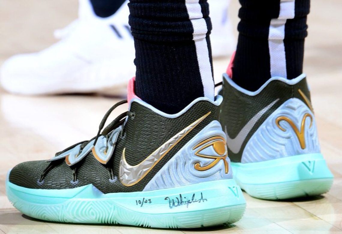 "f67b0569e83d Kyrie Irving in the Concepts x Nike Kyrie 5 ""Family   Friends Ikhet"" vs.  Atlanta Hawks (Scott Cunningham NBAE via Getty Images)"