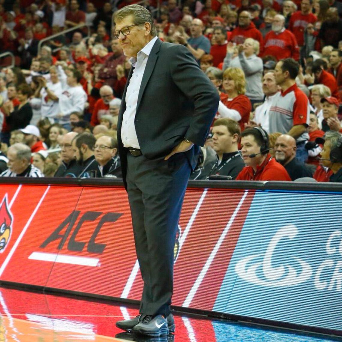 Geno Auriemma in the Off White x Nike Air Max 97