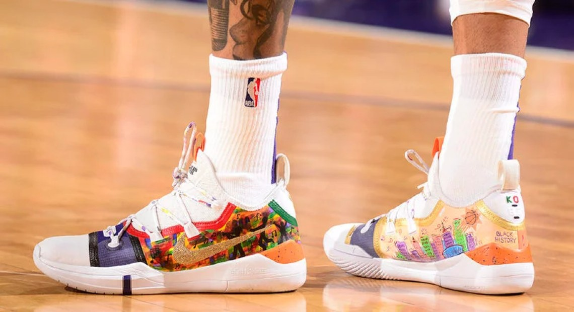 """classic fit 54b88 ee411 Kelly Oubre Jr. s custom Nike Kobe A.D. Exodus """"NOLA"""" by canvasco.shop  (Barry Gossage NBAE via Getty Images)"""