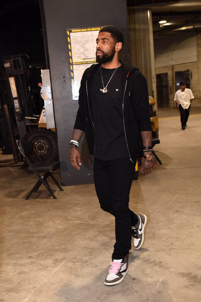 Kyrie Irving in the Travis Scott x Air Jordan 1