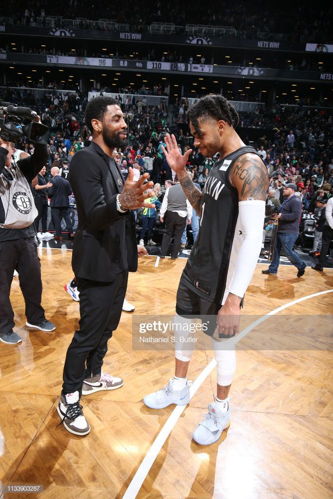 """a78754a610f5 Kyrie Irving in the Travis Scott x Air Jordan 1 """"Cactus Jack"""" (Nathaniel S.  Butler NBAE via Getty Images)"""