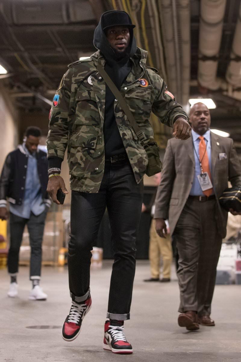 "5a15ace17a9a ... LeBron James in the Air Jordan 1 ""Bred Toe"" ..."