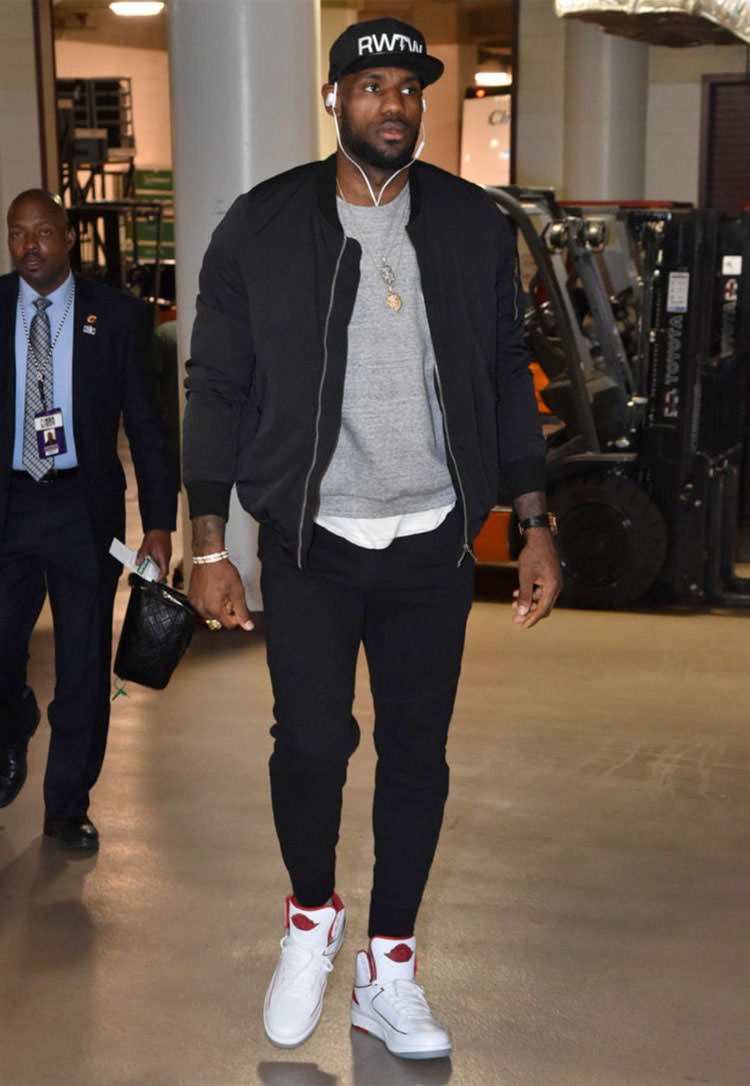 b9d306dd0cbb ... LeBron James in the Air Jordan 2 White Red ...