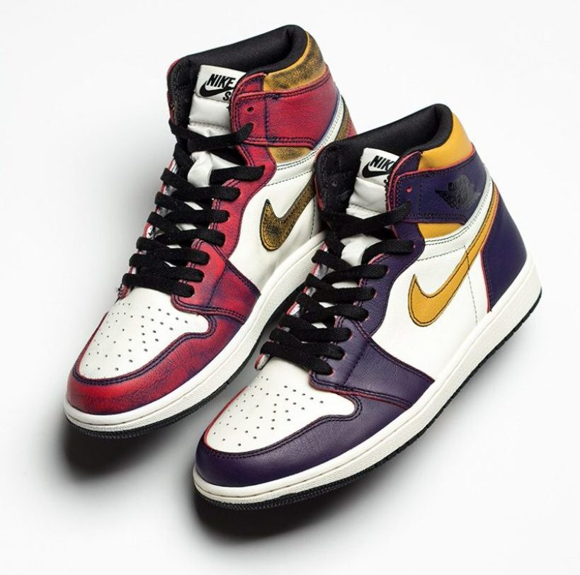 """e776cbb02a2c UPDATE 3 22  The Nike SB x Air Jordan 1 """"Lakers"""" actually turns into a  """"Chicago"""" colorway when worn down. See what we re talking about below."""