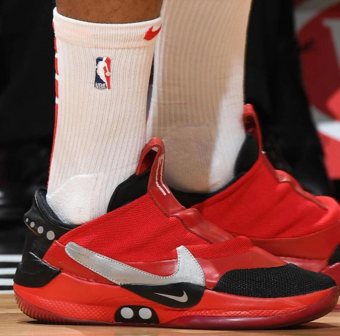 buy online d7821 956ac ... PJ Tucker in a Nike Adapt BB Custom by The Shoe Surgeon (photo by  Andrew D. Bernstein via Getty Images via Sole Collector) ...