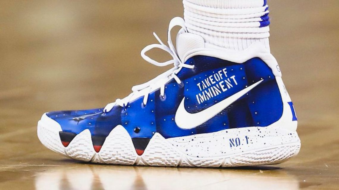290b90884956 Zion Williamson in a custom Nike Kyrie 4 by Sierato (Streeter Lecka Getty  Images) ...