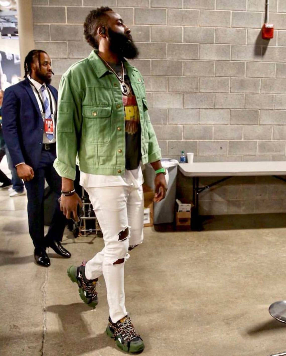 8e6ab27e9c7 James Harden capitalizes on pastel tones and white ripped skinny jeans with  a vintage inspired graphic