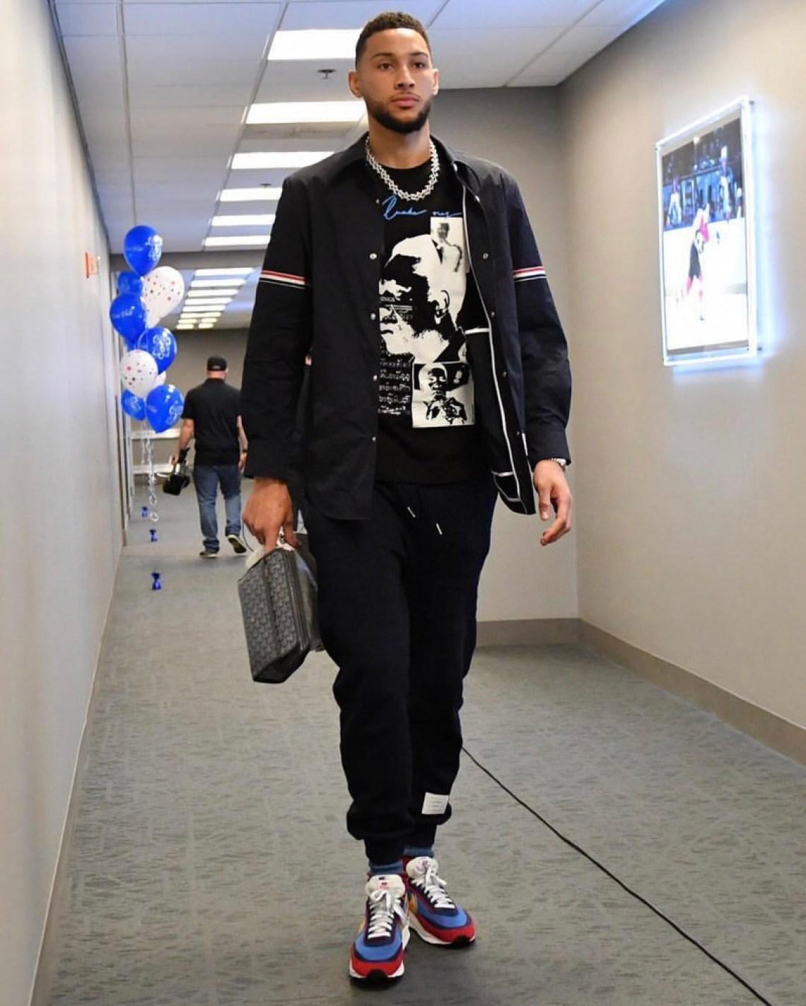 Ben Simmons reps a Thom Browne shirt jacket and sweats with Sacai x Nike LDV Waffledaybreaks.