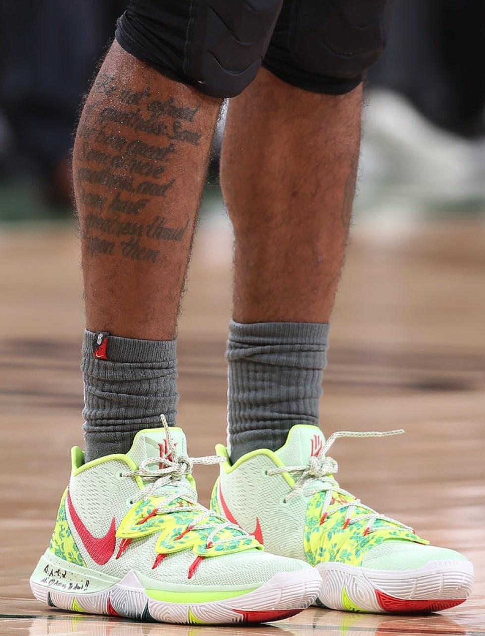 "new product d9008 4b0bf ... Kyrie Irving in the Nike Kyrie 5 ""EYBL"" vs. Milwaukee Bucks (Gary  Dineen NBAE via Getty Images) ..."