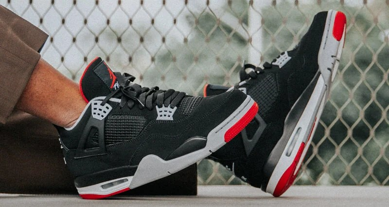 low priced ad205 64fe3 Here s How the 2019 Air Jordan 4 Black Red Looks On Foot   Nice Kicks