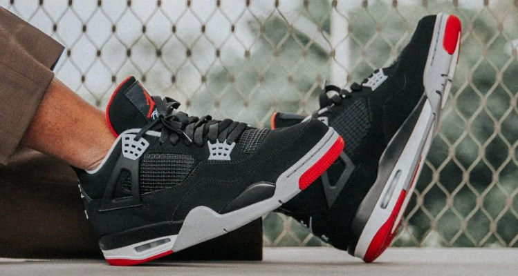 47638e6e9dad59 Here s How the 2019 Air Jordan 4 Black Red Looks On Foot