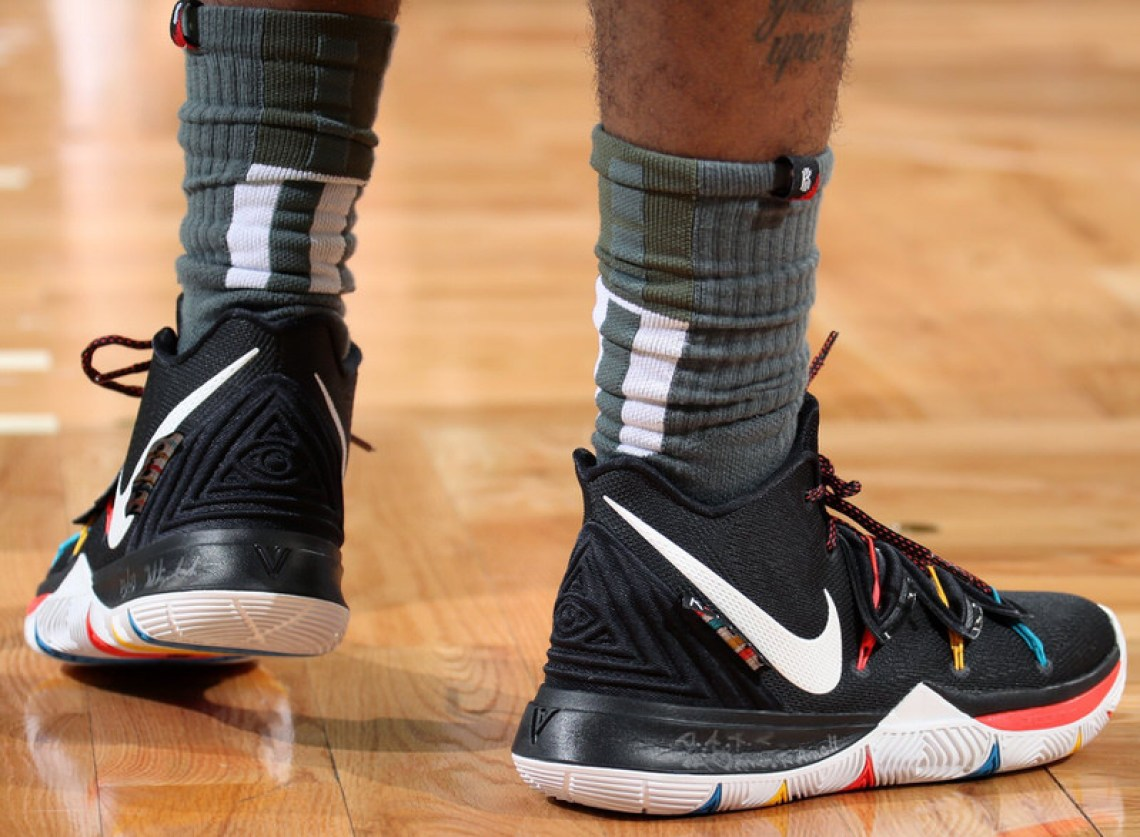 """18d2fc54b331 Kyrie Irving in the Nike Kyrie 5 """"Friends"""" vs. Milwaukee Bucks (Nathaniel  S. Butler NBAE via Getty Images) ..."""