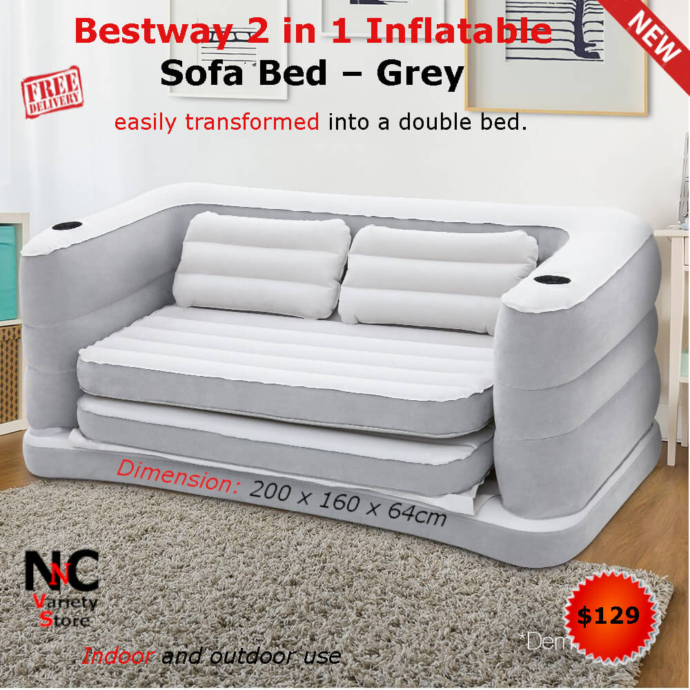Bestway 2 In 1 Inflatable Sofa Bed Grey Nice N Cheap Variety Store