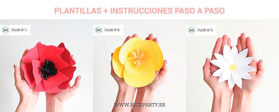 Nice Party plantillas con instrucciones flores de papel gigantes