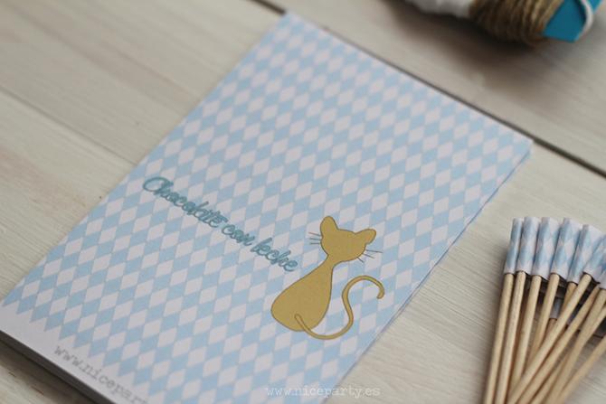 Nice Party Nice Box comunión gato azul y blanco chocolatinas personalizadas