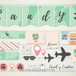 Kit imprimible para decorar una boda viajera