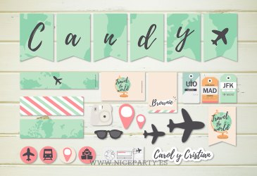 Kit imprimible para decorar una boda viajera