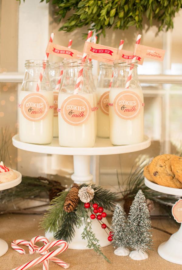 Decoración y mesa de dulces de navidad