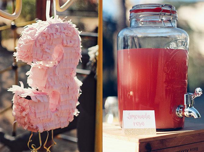 Cumpleaños rosa y dorado piñata y limonada rosa