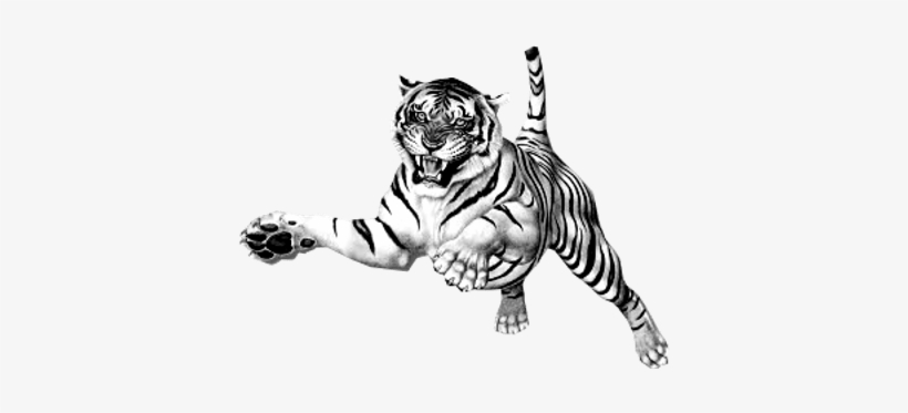 Jumping Tiger Clipart Tiger Picture Black And White Transparent Background Transparent Png 400x400 Free Download On Nicepng