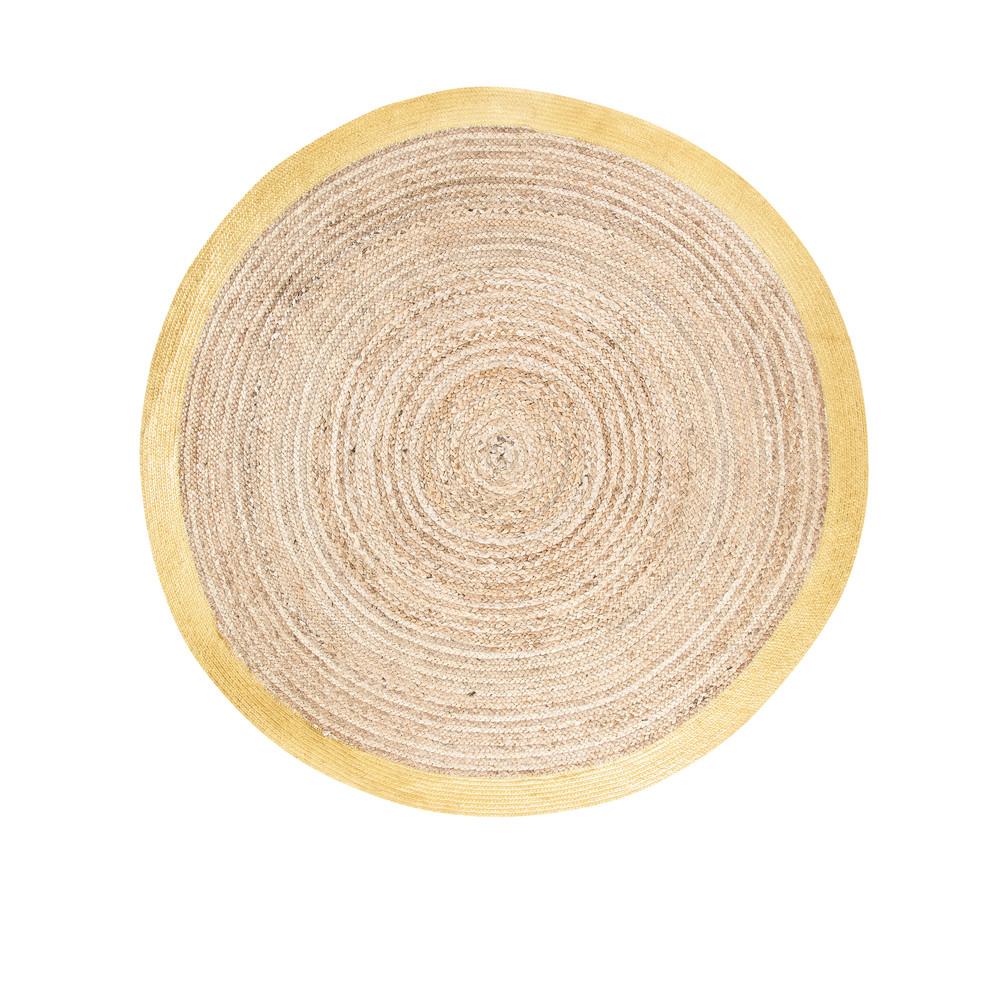 niche cadeau tapis rond tresse en jute et coton contour dore d180