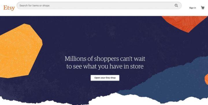 Home page del negozio Etsy