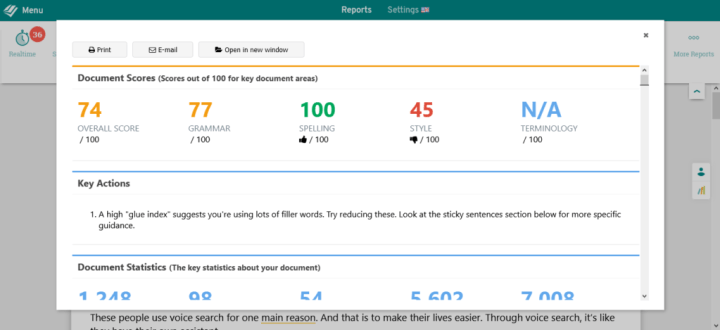 prowritingaid summary score