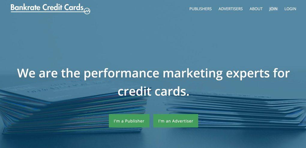 Bankrate credit card affiliate program screenshot