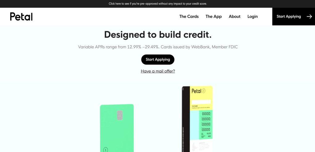 Petal Visa card homepage