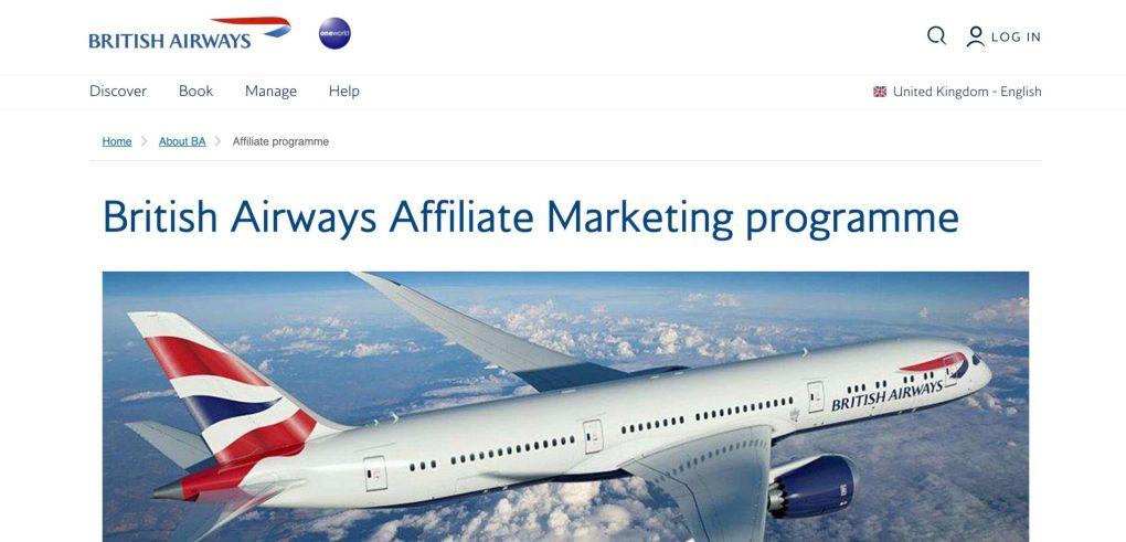 British Airways affiliate program