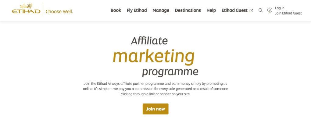 Best airline affiliate program Etihad