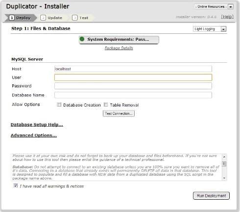 Duplicator Install Screenshot