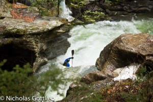Billy Wagner on Bingham Falls in Stowe, VT.