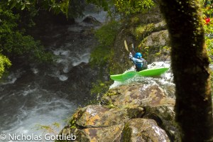 Greg boofing the only good rapid on the Carhuello...and it turned out there was a log in the landing.