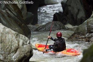 Tom Neilson paddles into the heart of the gorge.
