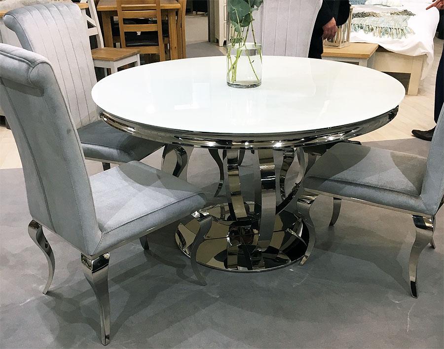 Orion Round Glass Table Plus Four Velvet Chairs Nicholas John Interiorsnicholas John Interiors