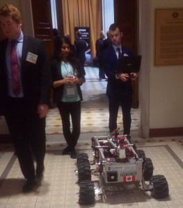 "Carleton University students with their rover ""Sparky"""