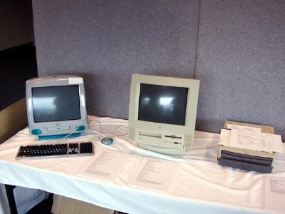 A selection of the various model Macs on display during the Twenty Mac Years Presentation