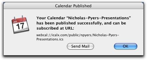 Calendar Published