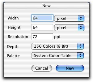 GraphicConverter's New Image dialog