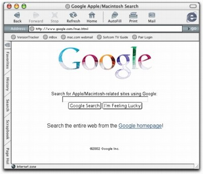Google Mac Search Page