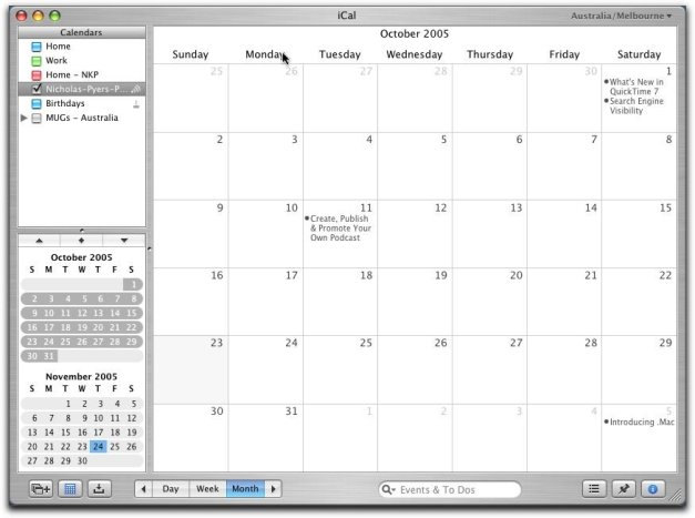 iCal Calendar Monthly View
