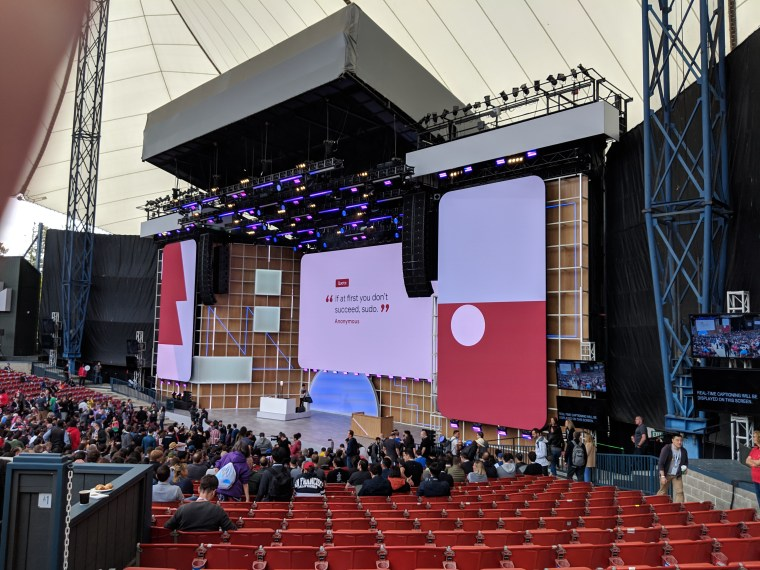 "The quote ""If at first you don't succeed, sudo"" appeared on the main screen as we waited for the Google I/O 2019 Keynote address"