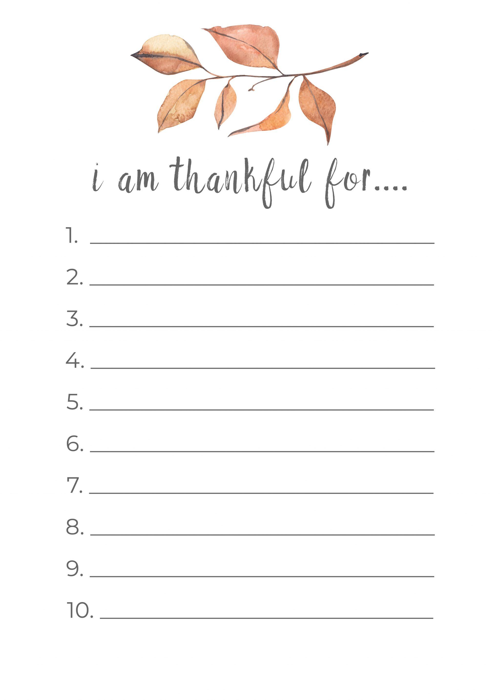 Thanksgiving Thankful List Printable