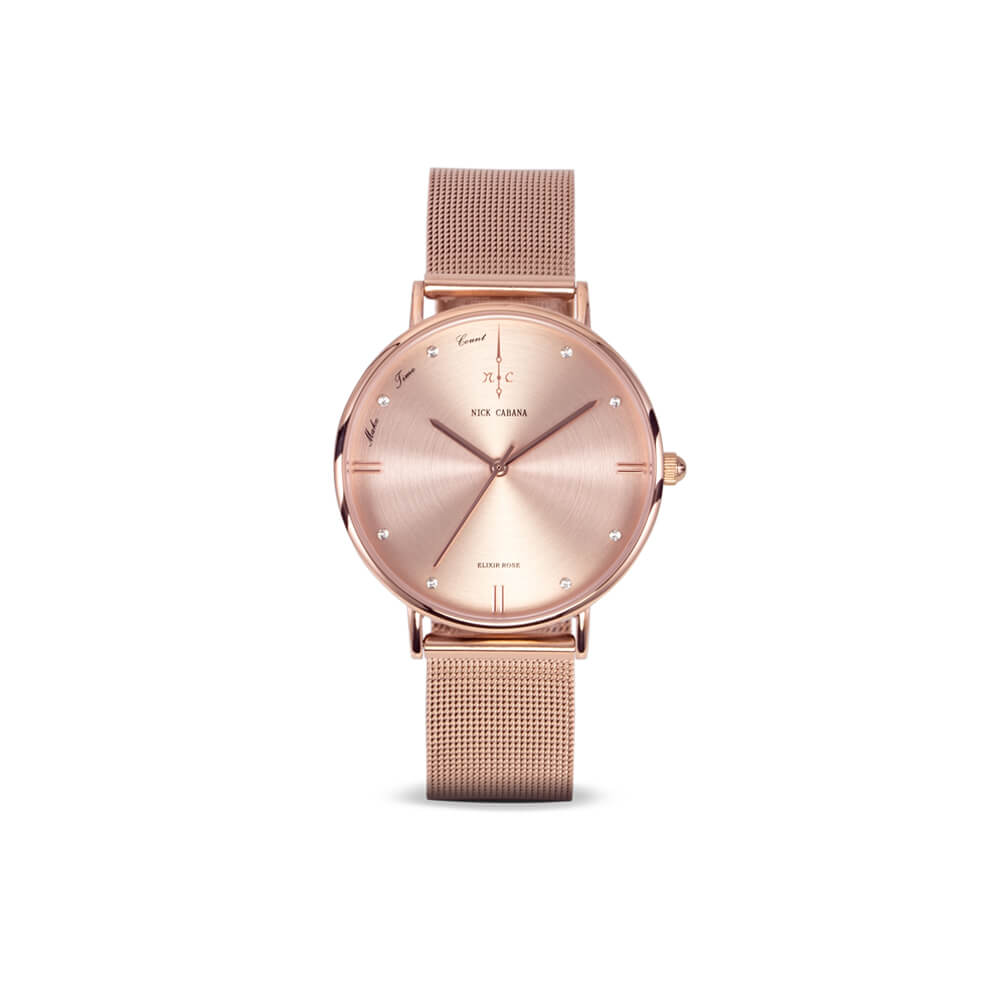 Nick Cabana Elixir Petite Rose womens watch in rose gold with swaroski crystals and mesh watchband