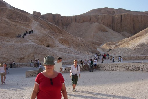 Sam at Valley Of The Kings. No wonder it took years to find, its in the middle of the mountains in the desert.